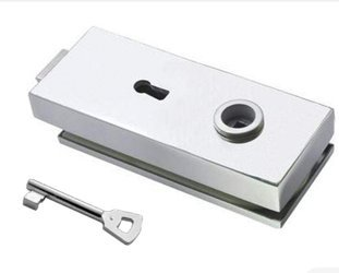 Glass Door Single-Action Lock with Key  prepared for Handle /Satin
