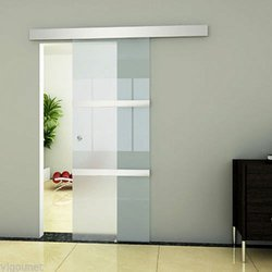 Sliding Clamping Glass Door System with cover – set (SL-200 ) / 3 m, 4 m/ Satin