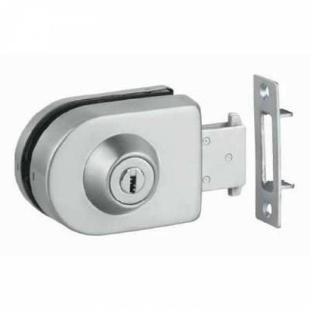 Overlay Glass Sliding Door Lock with Cylinder and Strike Plate / Polish, Satin